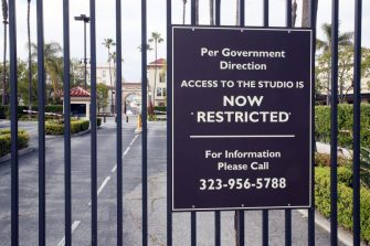 LOS ANGELES, CALIFORNIA - APRIL 20: The entrance to Paramount Studios is seen during the coronavirus pandemic on April 20, 2020 in Los Angeles, California. COVID-19 has spread to most countries around the world, claiming over 169,000 lives and infecting over 2.4 million people. (Photo by David Livingston/Getty Images)