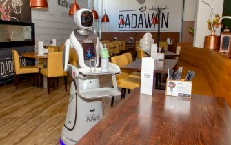 MAASTRICHT, NETHERLANDS - MAY 28: View of a serving robot at restaurant Dadawan on May 28, 2020 in Maastricht, Netherlands. Robots will serve food and drinks to the customers as well as to measure body temperature before customers enter the restaurant. Restaurants and cafes will re-open in The Netherlands on June 1st. as part of the Coronavirus lockdown ease. (Photo by Frank Kerbusch/BSR Agency/Getty Images)