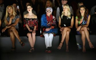 NEW YORK, NY - SEPTEMBER 10:  (L-R) Actress Laverne Cox,  businesswoman Iris Apfel ( C) , and  model Karolina Kurkova (2nd from R) attend the Desigual fashion show during Spring 2016 New York Fashion Week: The Shows at The Arc, Skylight at Moynihan Station on September 10, 2015 in New York City.  (Photo by Monica Schipper/Getty Images for NYFW: The Shows)