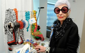 Designer Iris Apfel with pieces from her Rara Avis collection at the HSN Accessories Event at Home Shopping Network on May 12, 2011 in New York City. (Photo by Jemal Countess/WireImage)