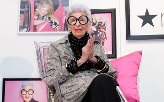"""NEW YORK, NY - SEPTEMBER 15:  Iris Apfel discusses the """"Iris Meets INC"""" fall fashion collection at Macy's Herald Square on September 15, 2016 in New York City.  (Photo by D Dipasupil/Getty Images)"""