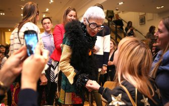 LONDON, ENGLAND - JULY 30:  J.Crew hosts a Q&A with Iris Apfel, moderated by Caroline Issa at J.Crew Regent Street on July 30, 2015 in London, England.  (Photo by Tim P. Whitby/Getty Images for J.Crew)