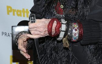 NEW YORK, NY - NOVEMBER 20:  Iris Apfel (jewelry detail) attends the 2014 Pratt Institute Gala at Mandarin Oriental Hotel on November 20, 2014 in New York City.  (Photo by Rob Kim/Getty Images)