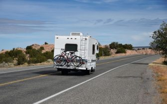 CHIMAYO, NEW MEXICO - OCTOBER 22, 2018:  A tourist pulling a recreational vehicle, or RV, approaches the small town of Chimayo, New Mexico. (Photo by Robert Alexander/Getty Images)