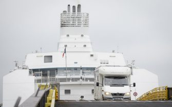 PORTSMOUTH, UNITED KINGDOM - AUGUST 14: A motorhome drives down the exit ramp as travellers from France disembark from a Brittany Ferries ship, on August 14, 2020 in Portsmouth, United Kingdom. The UK government, citing a rise in coronavirus cases, reimposed a 14-day quarantine period for people arriving from France later than 4am Saturday. (Photo by Leon Neal/Getty Images)
