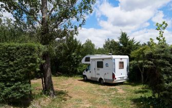 GARGANTILLA DE LOZOYA, SPAIN - JUNE 13: A motorhome is seen at the Monte Holiday campsite on June 13, 2020 in Gargantilla de Lozoya y Pinilla de Buitrago, Spain. The campsite, which had to close during the country's months-long coronavirus lockdown, has a capacity for 1,200 people and is completely booked for every weekend from mid-July through August. They have an average of 4,000 daily visits on the web and are seeing a large increase in people who come with motorhomes. (Photo by Carlos Alvarez/Getty Images)