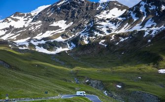 ITALY - JULY 11:  Touring RV motorhome on The Stelvio Pass, Passo dello Stelvio, Stilfser Joch, on route to Bormio, in the Alps in Northern Italy (Photo by Tim Graham/Getty Images)