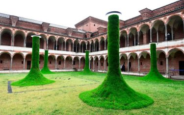 """TOPSHOT - An installation called """"Sleeping piles"""", by Estudio Campana is exhibited at the Milan University (L'Università degli Studi di Milano) during the Fuorisalone 2019 design week on April 11, 2019. - The Milan Furniture fair week is taking place in various locations across Milan from April 9 through 14, 2019. (Photo by Miguel MEDINA / AFP) / RESTRICTED TO EDITORIAL USE - MANDATORY MENTION OF THE ARTIST UPON PUBLICATION - TO ILLUSTRATE THE EVENT AS SPECIFIED IN THE CAPTION (Photo by MIGUEL MEDINA/AFP via Getty Images)"""