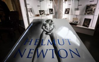 epa08758226 A signed copy of Australian-German photographer Helmut Newton Taschen Sumo Edition is displayed and put for auction at Julien's Auctions in Beverly Hills, California, USA, 19 October 2020. The auction will be held on 24 October 2020.  EPA/ETIENNE LAURENT