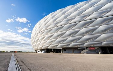 MUNICH, GERMANY - OCTOBER 04: A general view of the Allianz Arena prior to the Bundesliga match between FC Bayern Muenchen and Hertha BSC at Allianz Arena on October 04, 2020 in Munich, Germany. (Photo by Boris Streubel/Getty Images)