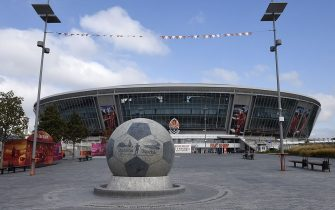 A picture taken on September 16, 2014 in Donetsk shows the Donbass arena stadium, the home stadium of Shakhtar Donetsk football club, eastern Ukraine.       AFP PHOTO/PHILIPPE DESMAZES        (Photo credit should read PHILIPPE DESMAZES/AFP via Getty Images)