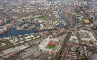 MANCHESTER, ENGLAND, MARCH 26. Aerial photograph of Old Trafford, Home of Manchester United football club on March 26, 2017. This Stadium nicknamed the theatre of dreams was built in 1909, it is located 2 miles south-west of the city centre, on the banks of the Bridgewater Canal. (Photograph by David Goddard/Getty Images)