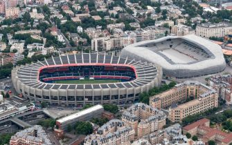 This aerial view taken on July 14, 2019 shows the Jean Bouin stadium (R) and the Parc des Princes stadium. (Photo by Kenzo TRIBOUILLARD / AFP)        (Photo credit should read KENZO TRIBOUILLARD/AFP via Getty Images)