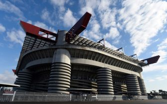 A picture taken on February 7, 2017 shows the Stadio Giuseppe Meazza, commonly known as San Siro in Milan.  San Siro is the home of A.C. Milan and Inter Milan football clubs.  / AFP PHOTO / MIGUEL MEDINA        (Photo credit should read MIGUEL MEDINA/AFP via Getty Images)