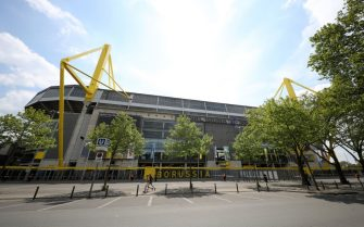 DORTMUND, GERMANY - MAY 16: General view outside the Signal Iduna Park Stadium ahead of the Bundesliga match between Borussia Dortmund and FC Schalke 04 takes place on May 16, 2020 in Dortmund, Germany. The Bundesliga and Second Bundesliga is the first professional league to resume the season after the nationwide lockdown due to the ongoing Coronavirus (COVID-19) pandemic. All matches until the end of the season will be played behind closed doors.  (Photo by Lars Baron/Getty Images)