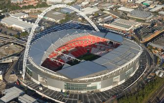 Wembley Stadium, London, 2006. Aerial view. Artist: Historic England Staff Photographer. (Photo by English Heritage/Heritage Images/Getty Images)
