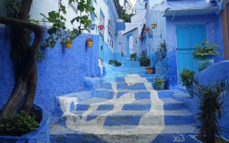 A general view shows a street painted in the tradition blue of the northern Moroccan Rif town of Chefchaouen on June 21, 2017. / AFP PHOTO / EMILY IRVING-SWIFT        (Photo credit should read EMILY IRVING-SWIFT/AFP via Getty Images)