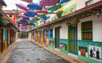 Guatape, Antioquia / Colombia - February 02, 2020. Tourist municipality of the Andes northwest of Colombia and east of Medellín. It is famous for its houses decorated with colored bas-reliefs.