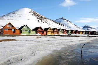 Colourful houses in Longyearbyen, Svalbard, Norway.