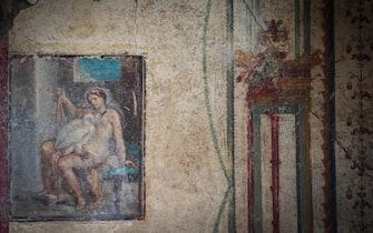 Uno scorcio dell'affresco Leda e il Cigno, che apre al pubblico insieme alle grandi scoperte nella Regio V nel Parco Archeologico di Pompei, Napoli, 25 Novembre 2019. ANSA/CESARE ABBATE