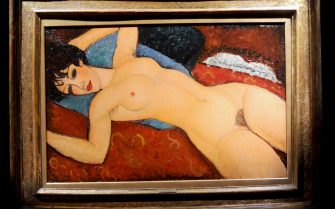 Amedeo Modigliani's Nu Couche is displayed at Christie's press previews in New York City, NY, USA, October 30, 2015. The painting by Italian artist was sold at auction on Monday for $170.4m (£113m), the second-highest price ever for a work sold at auction. Nu couche (Reclining Nude) was sold at Christie's in New York to a private Chinese collector. It had never been sold at auction before, having been in the same private collection for about 60 years. Photo by Dennis Van Tine/ABACAPRESS.COM (New York City - 2015-11-10, Van Tine Dennis / IPA) p.s. la foto e' utilizzabile nel rispetto del contesto in cui e' stata scattata, e senza intento diffamatorio del decoro delle persone rappresentate