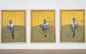 epa03947487 (FILE) An undated handout image released by Christies New York shows Francis Bacon's 1969 triptych 'Three Studies of Lucian Freud'. The paintings sold on 12 November 2013 for 142.4 million US dollar (105.96 million euro) at a Christie's auction, setting a new record for an artwork sold at auction.  EPA/CHRISTIE'S HANDOUT  HANDOUT EDITORIAL USE ONLY/NO SALES