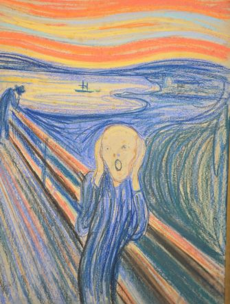 Il quadro da 80 milioni dollari, 'L'urlo' di Edvard Munch all'asta da Sotheby's. L'opera, una delle più celebri della Storia dell'Arte, verrà venduta durante la Impressionist and Modern Art Evening Sale. Per la prima volta, il dipinto di Munch è in esposizione a Londra alla Galleria di Sotheby's. (Londra - 2012-04-12, Gary Lee / IPA) p.s. la foto e' utilizzabile nel rispetto del contesto in cui e' stata scattata, e senza intento diffamatorio del decoro delle persone rappresentate