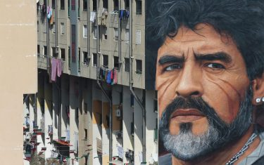 NAPOLI, ITALY - 2017/03/24: Giant Diego Armando Maradona murals, in the popular neighborhood of San Giovanni a Teduccio, painted by the artist Jorit. (Photo by Marco Cantile/LightRocket via Getty Images)