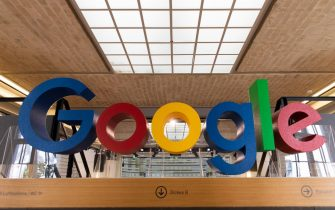 epa08873750 (FILE)  A Google logo is displayed at the Google offices in Berlin, Germany, 24 June 2019 (reissued 10 December 2020). According to media reports on 10 December 2020, French data privacy regulator CNIL will impose over 100 million euros fines on US companies Google and Amazon for breaching EU privacy data rules. According to media reports, Google will have to pay 100 million euros and Amazon 35 million euros fines.  EPA/HAYOUNG JEON *** Local Caption *** 55295001