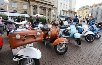 epa07824943 Italian Vespas on display during the International CroVespa event in downtown Zagreb, 07 September 2019. More than 300 Italian Vespa and their owners from Croatia, Slovenia, Austria, Germany, Italy, Hungary and the Czech Republic gathered in Zagreb to present their timeless cult bikes and vintage models.The first Vespa, (literarilly wasp in Italian language), was manufactured by Italy's Piaggio on 23 April 1946. Aside from Italy, the motorcycle was also made in India, Indonesia, Taiwan, the UK and Spain.  EPA/ANTONIO BAT  ATTENTION: This Image is part of a PHOTO SET