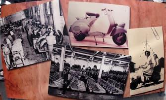 Alcune foto storiche della Vespa esposte presso il museo della scienza e tecnologia di Milano all'interno di una esposizione di Vespa e Lambrette   inaugurata all'inaugurazione del 10 marzo 2012. ANSA / MATTEO BAZZI