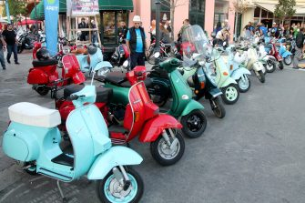 epa06222593 Owners of 'Vespa' scooters gather for an fan event in Tirana, Albania, 23 September 2017. The event, organized by the Vespa club of Acquaviva Delle Fonti di Bari in Italy with various tours and meetings all over Albania, gathers some 200 owners of the legendary 'Vespa' scooter of Italian manufacturer Piaggio from Italy, Albania and Kosovo.  EPA/MALTON DIBRA