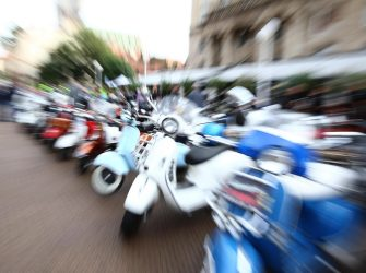 epa07824941 A picture taken with a zoom lens effect shows Italian Vespas on display during the International CroVespa event in downtown Zagreb, 07 September 2019. More than 300 Italian Vespa and their owners from Croatia, Slovenia, Austria, Germany, Italy, Hungary and the Czech Republic gathered in Zagreb to present their timeless cult bikes and vintage models.The first Vespa, (literarilly wasp in Italian language), was manufactured by Italy's Piaggio on 23 April 1946. Aside from Italy, the motorcycle was also made in India, Indonesia, Taiwan, the UK and Spain.  EPA/ANTONIO BAT  ATTENTION: This Image is part of a PHOTO SET