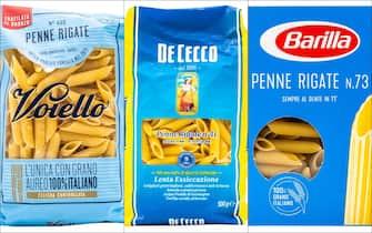 Confezioni di pasta di Voiello, De Cecco e Barilla