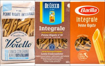 Confezioni di pasta integrale di Voiello, De Cecco e Barilla