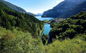 Lake Bior (in the foreground) and Lake Molveno, Trentino-Alto Adige, Italy.