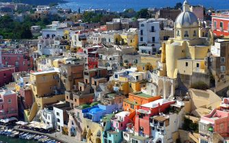 """[UNVERIFIED CONTENT] The little island of Procida lies between Naples and Ischia. La Corricella is a colorful ancient fishermen village. This is the location where the Academy Award Winner movie """"il postino"""" (the postman) was shot."""