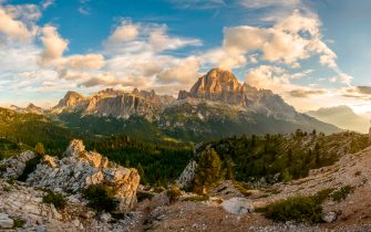 Tofane is a mountain group in the Dolomites, west of Cortina d'Ampezzo, in the province of Belluno, Veneto, Italy at sunrise.