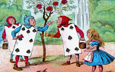 'The Playing cards painting the Rose Bushes', c1910. From Alice in Wonderland, by Lewis Carroll. [W. Butcher & Sons, London, c1910]Artist John Tenniel. (Photo by The Print Collector/Getty Images)