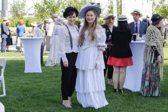 United Nations, New York, USA, June 15, 2019 - Guests dressing in the fashion of the early 1800s a tended the first celebration of Blooms day today at the UN Headquarters in New York. The Bloomsday Festival is an annual celebration of James Joyce's modernist epic Ulysses, the events of which take place in Dublin and oround the world on 16 June 1904. The name is inspired by the main character Leopold Bloom on his Book Ulysses . Photo: Luiz Rampelotto/EuropaNewswire  PHOTO CREDIT MANDATORY. | usage worldwide (Luiz Rampelotto/EuropaNewswire / IPA/Fotogramma, New York - 2019-06-14) p.s. la foto e' utilizzabile nel rispetto del contesto in cui e' stata scattata, e senza intento diffamatorio del decoro delle persone rappresentate
