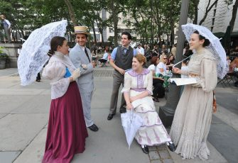 """NEW YORK, NY - JUNE 16:  Atmosphere at  """"A Bloomsday Breakfast in Bryant Park"""", the part of """"Imagine Ireland"""", Culture Ireland's Year of Irish Arts in America in 2011 on June 16, 2011 in New York City.  (Photo by Slaven Vlasic/Getty Images)"""