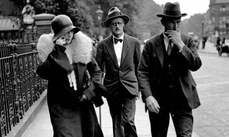 Nora Barnacle (left), James Joyce (center) and their solicitor n London on the day of their marriage, July 4th, 1931, 1931. Found in the Collection of State University of New York at Buffalo. (Photo by Fine Art Images/Heritage Images/Getty Images)