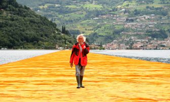 SULZANO, ITALY - JUNE 16:  Artist Christo Vladimirov Javacheff attends the presentation of his installation the 'The Floating Piers' on June 16, 2016 in Sulzano, Italy.  (Photo by Pier Marco Tacca/Getty Images)