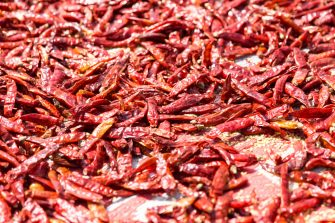 Kutupalong, Ukhiya near Cox´s Bazar, Bangladesh - October 16, 2018: Dried Red Cubanelle chili peppers on the ground in the refugee camp of the Rohingya people near Cox's Bazar in Bangladesh in Camp 4 in Kutupalong, Ukhiya in the largest refugee camp in the world, where over 700.000 fled Rohingya live. (Photo by Christian Ender/Getty Images)