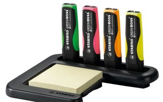 Evidenziatore STABILO GREEN BOSS. Set da scrivania 4 colori + Post-it