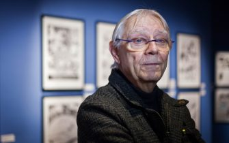 Italian comics artist Milo Manara poses during the 46th edition of the Angouleme International Comics Festival on January 24, 2019. - Milo Manara is touched after he has just found, surprised and delighted, a board of his first scenario he made 40 years ago, during the first retrospective devoted to him at the International Comics Festival in Angouleme. (Photo by Yohan BONNET / AFP)        (Photo credit should read YOHAN BONNET/AFP via Getty Images)