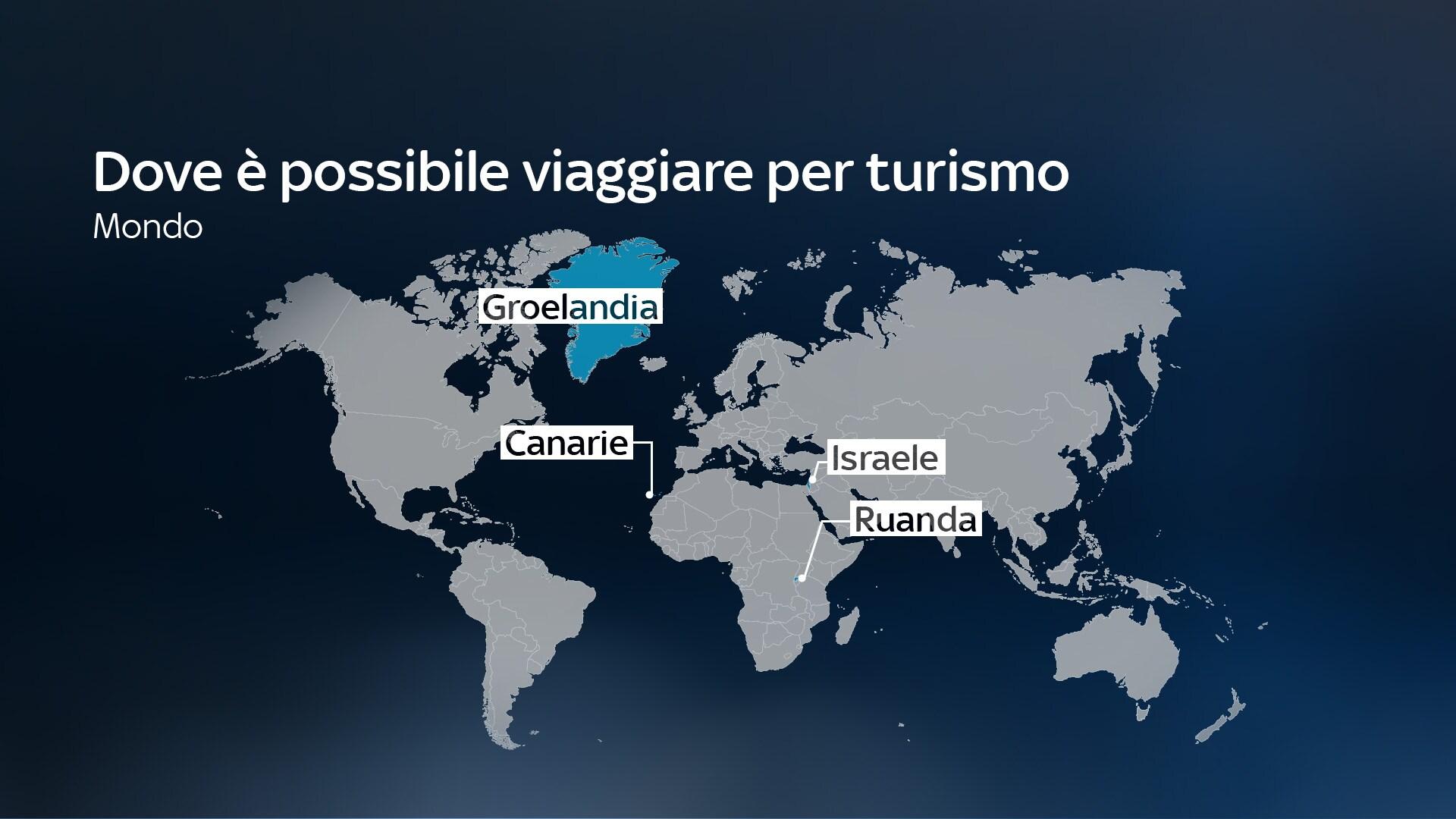 Nell'immagine una mappa del mondo con i Paesi dove è possibile andare per turismo