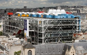 "PARIS, FRANCE - MAY 28: Pompidou Center is seen from the ""Tour Saint Jacques"" on May 28, 2019 in Paris, France. The Saint Jacques Tower reopens to the public on May 31 after being closed for renovation. From May to November, the UNESCO World Heritage site will offer visitors who ascend the 52-metre tower a breathtaking 360 degree view of the French capital. (Photo by Chesnot/Getty Images)"
