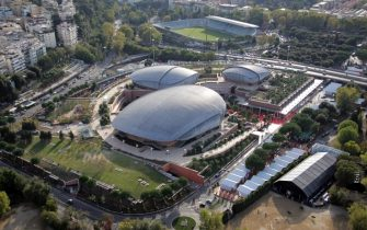 ROME - OCTOBER 23:  The picture shows an aerial view of the Auditorium Parco della Musica, a complex designed by Renzo Piano, on October 23, 2007 in Rome, Italy.  (Photo by Gareth Cattermole/Getty Images)