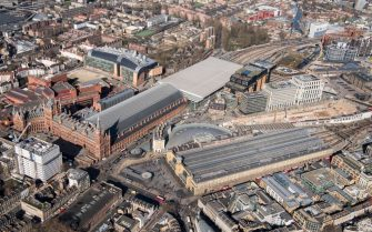 King's Cross and St Pancras International Railway Stations, London, 2018. Artist Historic England Staff Photographer. (Photo by English Heritage/Heritage Images/Getty Images)